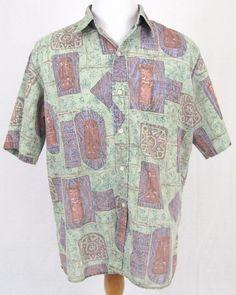 Reyn Spooner Hawaiian Shirt XL Moa Tiki Totem Reverse Print Tribal Bamboo Aloha #ReynSpooner #Hawaiian