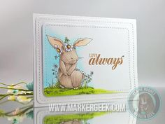 Stamping Bella - Woodsies - Bedelia Bunny Card - www.markergeek.com