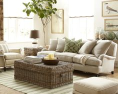pop of green,'Shore Woven Rattan Coffee Table' &  fishing floats
