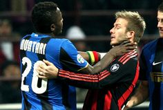 David Beckham Photos - Sulley Ali Muntari (L) and David Beckham (R) in action during FC Inter Milan v AC Milan - Serie A match on February 2009 in Milan, Italy. - Sports Pictures of the Week - February 16 80s Music Hits, Best 80s Music, Football Soccer, Football Players, David Beckham Football, David Beckham Photos, Pictures Of The Week, Manchester United, Curly Hair Styles