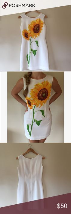"""Sunflower mini dress This stunning dress is in excellent condition. Fully lined, 32.5"""" long, 16.5"""" armpit to armpit laying flat. Fabric tag is in Korean, fits like a 2.    Ships from Hawaii  No trades  Reasonable offers welcome  Bundle & save  Sobrio Dresses Mini"""