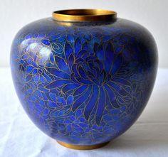 Vintage Cloisonne Blue Blend Enamel ~ Ginger Jar Pot Urn Tea Caddy ...