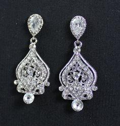 Vintage Chandelier Wedding Earrings Crystal Bridal by JamJewels1, $63.00