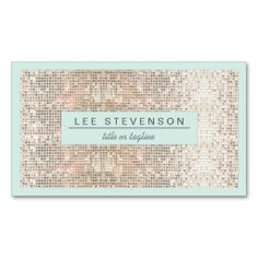 Faux Silver Sequins Light Blue Business Card
