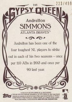 2015 Topps Gypsy Queen - Paper Frame Bronze #245 Andrelton Simmons Back