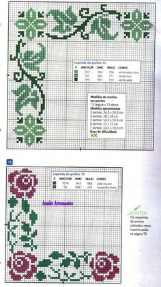 This Pin was discovered by Ber Cross Stitch Borders, Cross Stitch Flowers, Cross Stitch Designs, Cross Stitching, Cross Stitch Embroidery, Cross Stitch Patterns, Hand Embroidery Patterns, Beading Patterns, Pixel Pattern