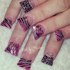 eww these just look grosse. I'm not even putting them on my nails board Pink Sparkly Nails, Baby Pink Nails, Fabulous Nails, Gorgeous Nails, Pretty Nails, Leopard Nail Art, Zebra Nails, Toe Nail Designs, Acrylic Nail Designs