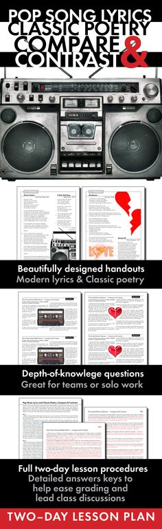 Use this two-day poetry lesson to help your students connect modern song lyrics to classic poetry. Click HERE for print-and-teach materials!