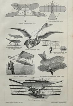 1901 Antique print of EARLY FLYING MACHINES, ballons, dirigibles, airplanes. 111 years old engraving.