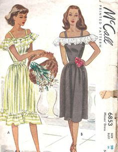 1940s Vintage McCall Printed Pattern Misses Dress Sewing Pattern McCalls 6853    This 1947 McCalls printed sewing pattern is for a Misses Dress.