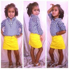 Navy chevron, and a bright yellow skirt! Kindergarten fashion!