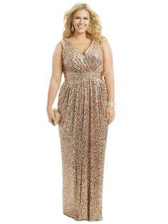 Sheath/Column V-neck Sleeveless Floor-length Sequins Plus Size Prom Dresses JollyProms