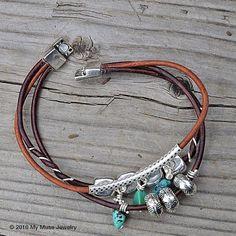 Women's Handmade Leather Bracelet from www.mymusejewelry.com