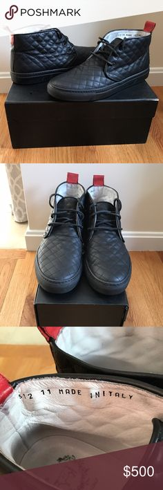 Men's Del Toro quilted leather alto chukka sneaker Men's Del Toro black quilted leather alto chukka sneaker. Includes original box and sash they've been kept in. Worn a few times, in excellent condition.                                                      NO TRADES --- PLEASE USE OFFER BUTTON Del Toro Shoes Sneakers