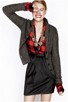 Flannel shirt, cardigan, skirt, and glam jewelry #fallstyle add some otk boots and you have #winterstyle