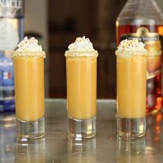 Love pumpkin pie? Love delicious, boozy shooters? Then try these Pumpkin Pie Shooters and prepare for your mouth to explode with flavorful pleasure! These incredible pumpkin pie cocktails mix up whipped cream vodka, pumpkin spice liqueur, and pumpkin pie mix, and are garnished with Graham Cracker crumbs, whipped cream, and sprinkles to really max out that spiced dessert drink action.