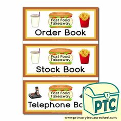Fast Food Takeaway Role Play Resources - Primary Treasure Chest Teaching Activities, Teaching Ideas, Ourselves Topic, Book Labels, Order Book, Candy Shop, Role Play, Treasure Chest, Book Covers