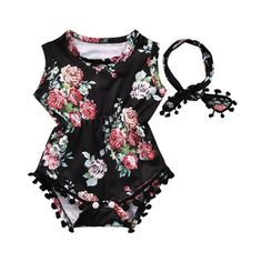 9b4c9711ccf Check out my new Floral Printed Boho Romper and Headband Set for Infants  and Babies(2-Piece)