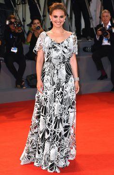 Venice Film Festival 2016's Best Red Carpet Moments - Natalie Portman in a black and white Valentino dress