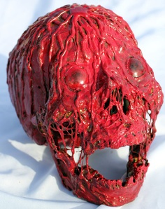 Red Human Candle Wax Victim Dripping Corpse Skull Halloween Prop