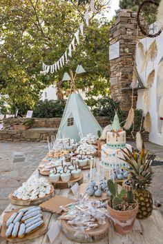 Christening Themes, Baptism Themes, Baptism Decorations, Boy Baptism, Pocahontas Birthday Party, Wild One Birthday Party, Boy Birthday Parties, Tribal Baby Shower, Baby Boy Shower