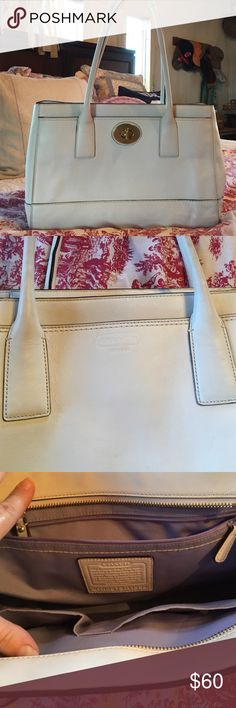 Authentic white leather COACH handbag Authentic white leather COACH handbag, excellent used condition, purple lining, minimal wear, lots of life left for this classic COACH design  Coach Bags Satchels