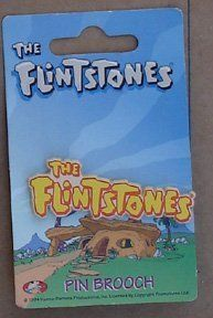 Flintstones Logo Plastic Pin Brooch From The 1990`s On Card . $5.95