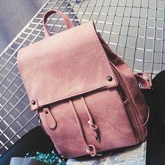 Simple Style Designer Backpack Vintage Pink Black Travel Leather
