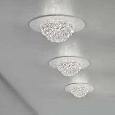 Bool Ceiling Spot Light, designed by Studio Stile Masiero, features transparent cut Crystals on a White frame. One 3 watt LED module is included. inch width x inch height. Crystal Ceiling Light, Ceiling Light Fixtures, Ceiling Lamp, Ceiling Lights, Plywood Furniture, Sitting Room Lights, Bling Bathroom, Living Room Decor Inspiration, Design Studio