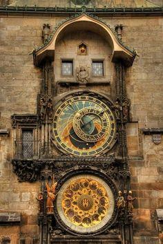 Astronomical Clock of Prague.  Originally installed in 1410.