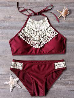 Halter Lace Spliced Cut Out Bikini Set - RED M