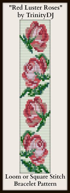 """Red Luster Roses"" - Newest loom or square stitch bracelet pattern. Pattern will be released soon"