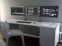 Ideal für Beruf und Hobby unsere Lösung um 3 x 24-32 Zoll Monitore platzsparend aufzustellen und optimal auszurichten.
