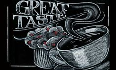 Coffee illustration and chalk lettering