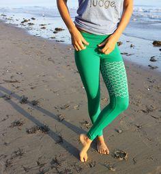organic cotton mermaid II yoga leggings van PurushaPeople op Etsy, $98.00