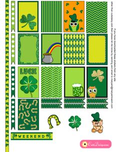 FREE Printable Saint Patrick's Day Stickers for Happy Planner and Erin Condren Life Planner by Cutedaisy