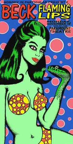 Beck-The Flaming Lips music gig posters | ... Music Posters - Memorabilia, Concert Poster, Silkscreen, Poster Art