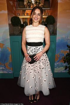 Emilia Clarke in Giambattista Valli Haute Couture at the Charles Finch and Chanel Pre-BAFTA cocktail party and dinner at Annabel on February 13, 2016