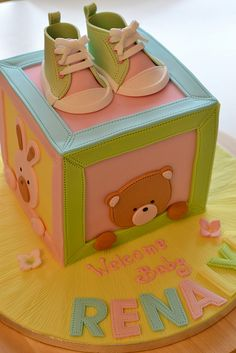 Baby Shower cake Baby Shower Cakes, Baby Boy Shower, Fondant Cakes, Cupcake Cakes, Petit Cake, Baby Girl Cakes, Shower Bebe, Baby Blocks, Novelty Cakes