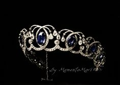Diamond And Sapphire Tiara From The Russian Crown Jewels. The tiara is better know as Empress Maria Fedorovna Sapphire Kokoshnik Tiara.