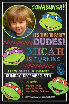 Ninja Turtle Invitation Ninja Turtles Birthday by fiestaprintable                                                                                                                                                      More