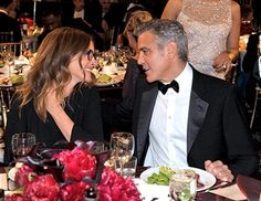 Actors Julia Roberts and honoree George Clooney attend The 2013 BAFTA LA Jaguar Britannia Awards at The Beverly Hilton Hotel on November 9, 2013 in Beverly Hills, California.