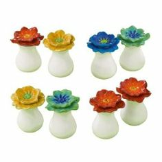 """Grasslands Road Petals Salt & Pepper Shaker - Choice of colors, TR by petals. $6.49. Choose red & yellow/orange (TL), blue & green (TR). Ceramic. yellow/orange & blue (BL) or reds (BR). 2 1/4"""" x 1 3/4"""". Grasslands Road Petals Salt & Pepper Shakers look like spring or summer flowers."""