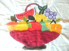 linda canasta de frutas  bordada