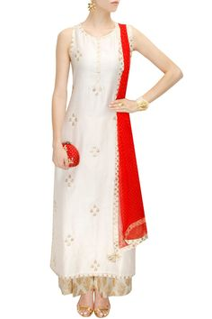 Ivory and red gota patti work kurta set available only at Pernia's Pop-Up Shop.