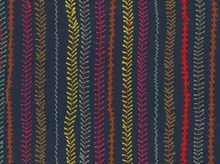 Cotton Embroidery Lines Navy