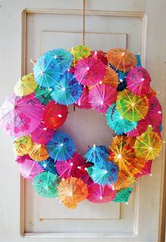 Cocktail umbrellas wreath