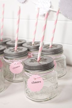 Light Pink Party Drink Kit by ThePaperedNest on Etsy, $6.95    I have so many baby food jars...could they be upcycled into this concept?  Very cute.  :)