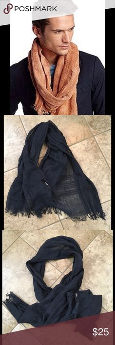 Men's Hugo Boss linen scarf Midnight Blue color linen scarf in great used condition Hugo Boss Accessories Scarves & Wraps