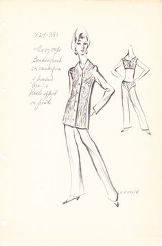 House of Guy Laroche Original Vintage Fashion Sketch Stat Sheet X24-381 from the 1960's